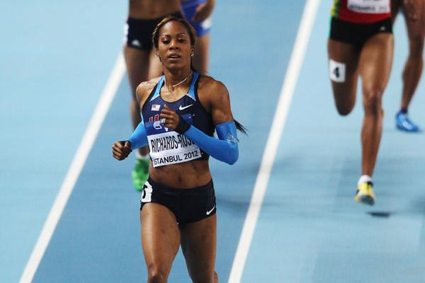 Sanya Richards-Ross of the United States leads her heat in the Women's 400 Metres first round (Getty Images)