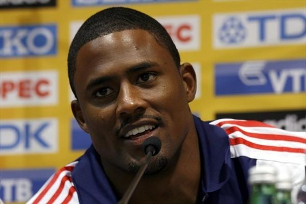 David Oliver at the pre-competition press conference in Split (Bob Ramsak)