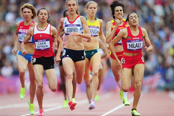 Lisa Dobriskey of Great Britain competes in the Women's 1500m heat on Day 10 of the London 2012 Olympic Games at the Olympic Stadium on August 6, 2012 (Getty Images)