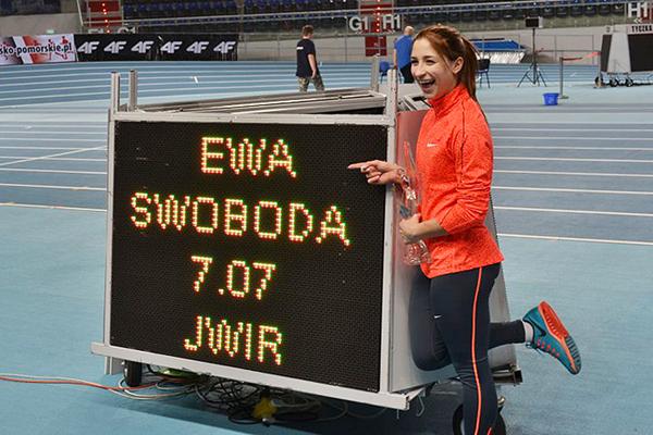 Ewa Swoboda after setting a world junior indoor 60m record of 7.07 in Torun (Maciej Pruss)