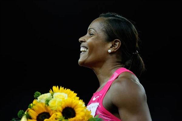 Newly crowned 100m hurdles World Champion Brigitte Foster-Hylton celebrates her win in Zurich (Getty Images)