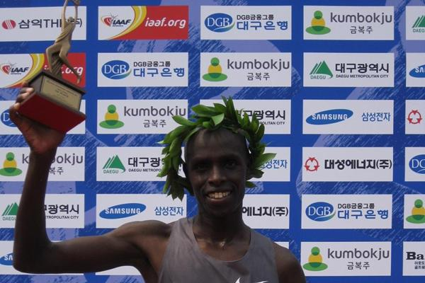 Abraham Kiprotich after winning the 2013 Daegu International Marathon (Robert Wagner / organisers)