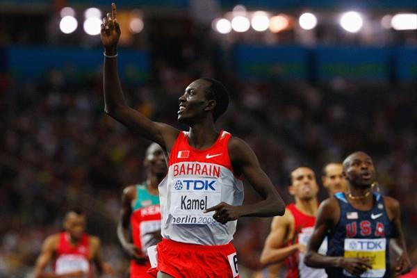 Yusuf Saad Kamel of Bahrain celebrates after winning the gold medal in the men's 1500m final (Getty Images)
