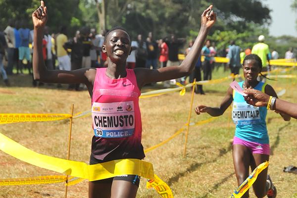 Janat Chemusto wins the junior women's race at the Ugandan Cross Country Championships (Namayo Mawerere)