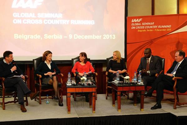 The IAAF Global Seminar on Cross Country Running , Belgrade 2013, Sebastian Coe and five former IAAF World Cross Country Championships winners (Sean Wallace-Jones / IAAF)