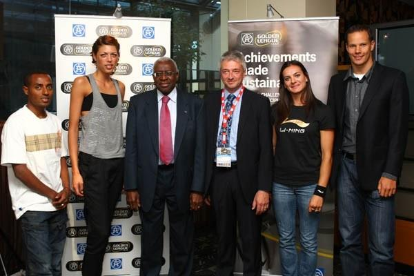 From left to right Kenenisa Bekele, Blanka Vlasic, IAAF President Lamine Diack, AF Executive Vice President Jorgen Backersgard, Yelena Isinbayeva and Tero Pitkamaki at the AF Golden League Launch in Berlin (Getty Images)