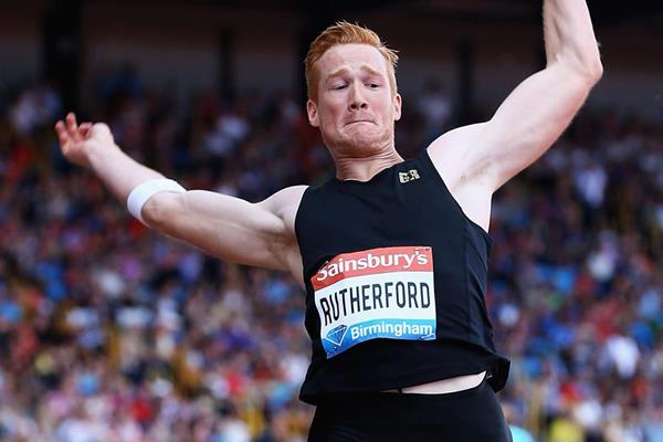 Greg Rutherford in the long jump at the IAAF Diamond League meeting in Birmingham (Getty Images)