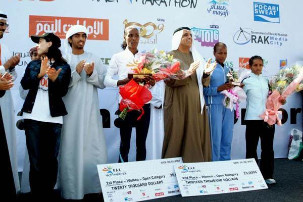 Berhane Adere after her win in Ras Al Khaimah (Pat Butcher)