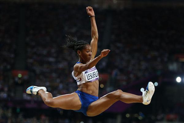 Eloyse Lesueur of France competes in the Women's Long Jump Final on Day 12 of the London 2012 Olympic Games at Olympic Stadium on August 8, 2012 (Getty Images)