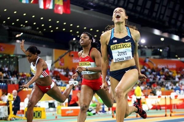 Lolo Jones of USA wins the gold medal in the 60m Hurdles (Getty Images)