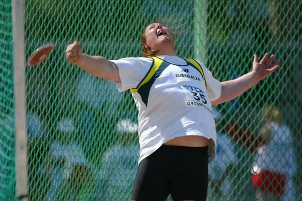 Ronnie Buckley of Australia competing in the men's Discus qualification (Getty Images)