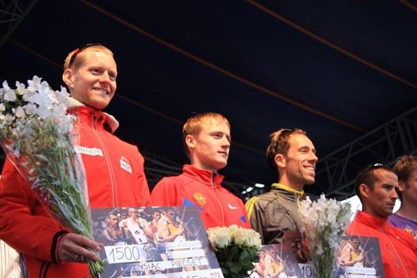 Krakow men's podium, from left: Runner-up Erik Tysse, winner Valeriy Borchin, third placer Yohan Diniz and Joao Vieira who finished fourth (organisers)