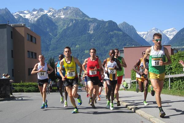 Simon Muthoni (22) at the start of the men's race in Bludenz (Organisers)