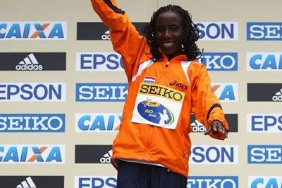 On top of the podium again: Lornah Kiplagat takes World Half Marathon gold (Getty Images)