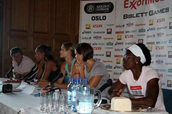 Hurdlers Lolo Jones, Christina Vukicevic, Susanna Kallur and Josephine Onyia (along with interviewer Kjell-Gunnar Dahle at left) at the Bislett Games pre-meet press conference at Oslo's City hall (Bob Ramsak)