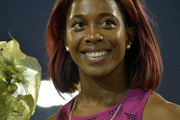 Shelly-Ann Fraser-Pryce after winning the 100m at the 2014 IAAF Diamond League in Doha (Deca Text & Bild)