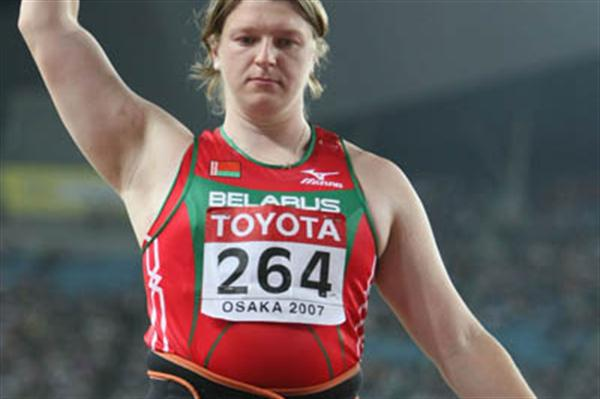 Silver medal throw for Nadzeya Ostapchuk of Belarus (Getty Images)