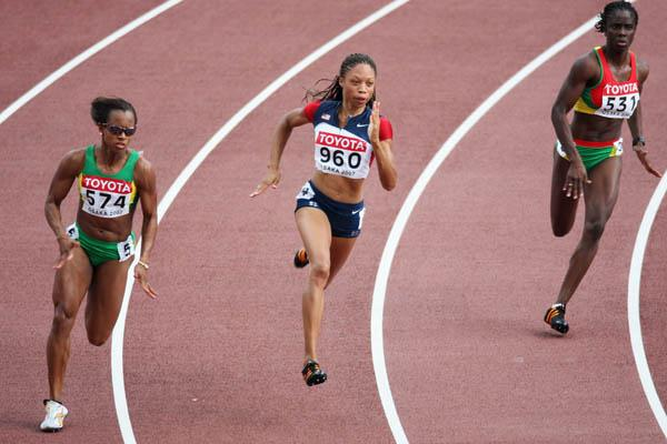 Allyson Felix of the US in the heats of the women's 200m (Getty Images)