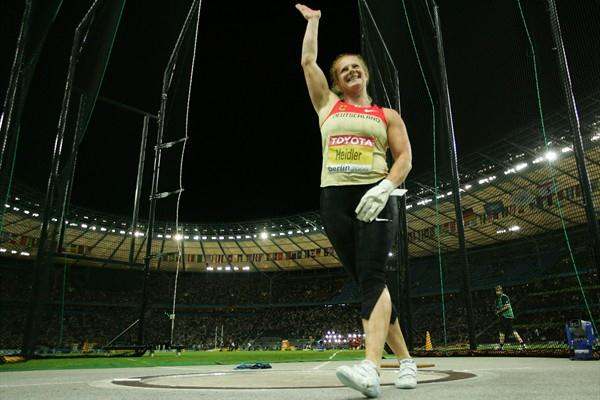Betty Heidler celebrates winning the silver medal in the women's Hammer Throw with a German National Record of 77.12m (Getty Images)