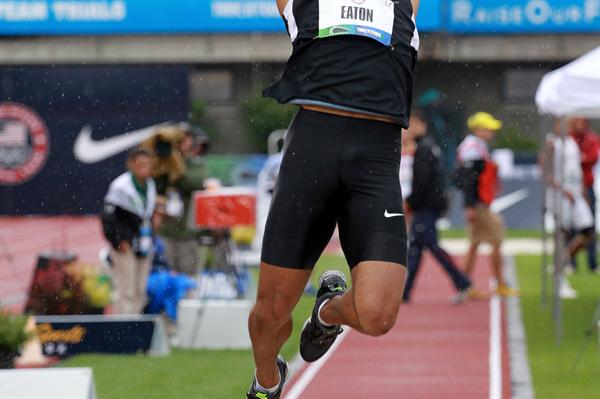 Ashton Eaton long jumping in the Decathlon at the 2012 US Olympic Trials (Getty Images  )