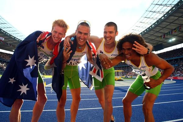 The 4x400m bronze medal winners from Australia (L-R) Tristan Thomas,  Sean Wroe, Ben Offereins and John Steffensen (Getty Images)