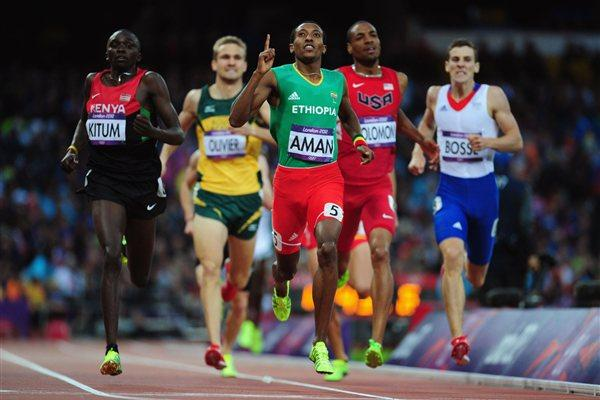 (L-R) Timothy Kitum of Kenya and Mohammed Aman of Ethiopia competes in the Men's 800m Semifinals on Day 11 of the London 2012 Olympic Games at Olympic Stadium on August 7 2012 (Getty Images)
