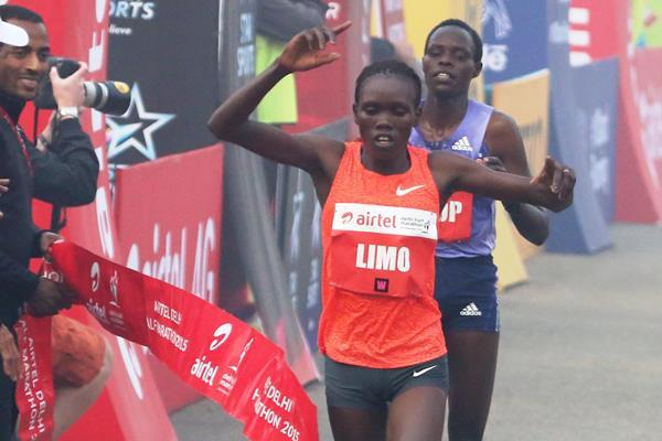 Cynthia Limo wins at the 2015 Airtel Delhi Half Marathon  (organisers)