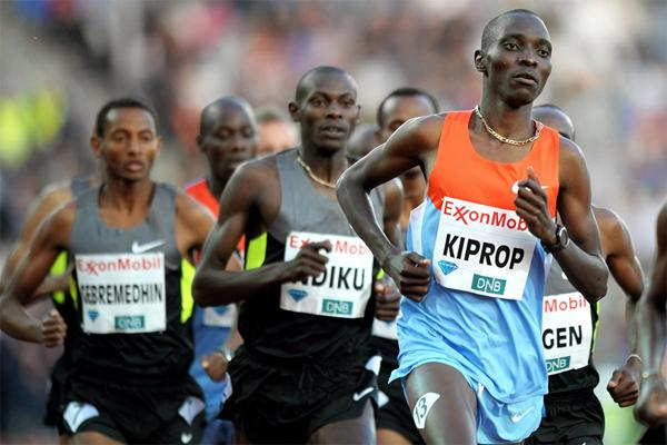Asbel Kiprop on his way to victory in the Mile at the 2012 Diamond League meeting in Oslo (Mark Shearman)