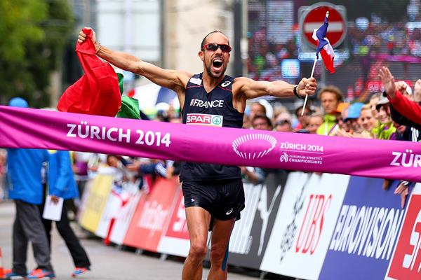 Yohann Diniz of France wins the European 50km race walk title with a world record (Getty Images)