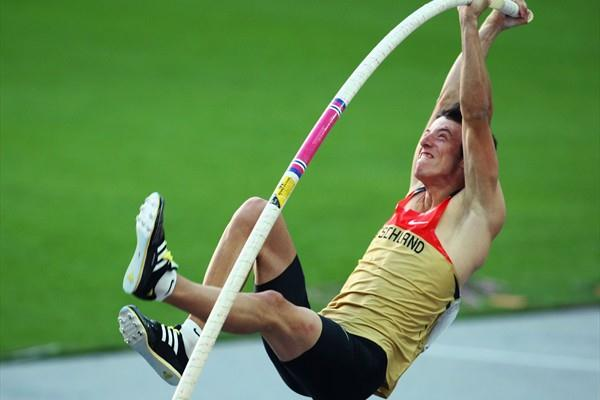 Germany's Malte Mohr in the men's Pole Vault final during the 12th IAAF World Championships in Athletics (Getty Images)