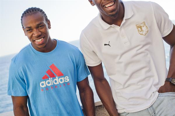 Training partners Yohan Blake and Usain Bolt in Monaco (Philippe Fitte)