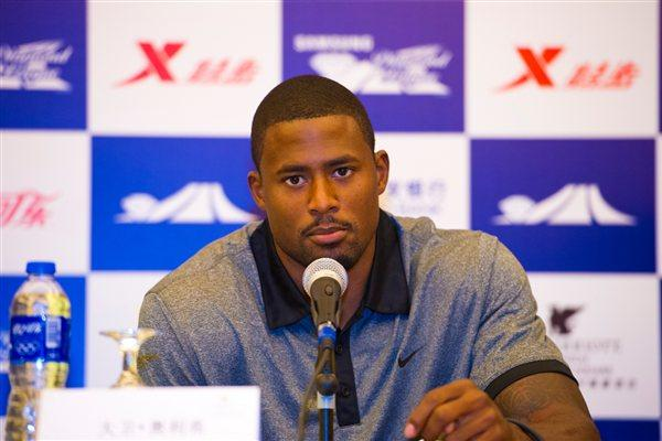 David Oliver a the pre-meet press conference in Shanghai (Errol Anderson)