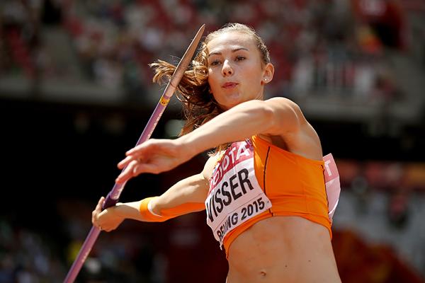Nadine Visser in the heptathlon javelin at the IAAF World Championships, Beijing 2015 (Getty Images)