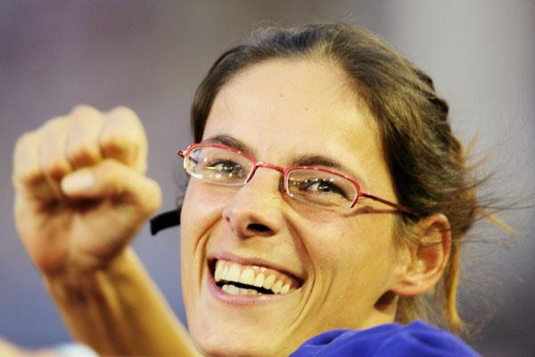 Tia Hellebaut savouring her high jump victory in Gothenburg (Getty Images)