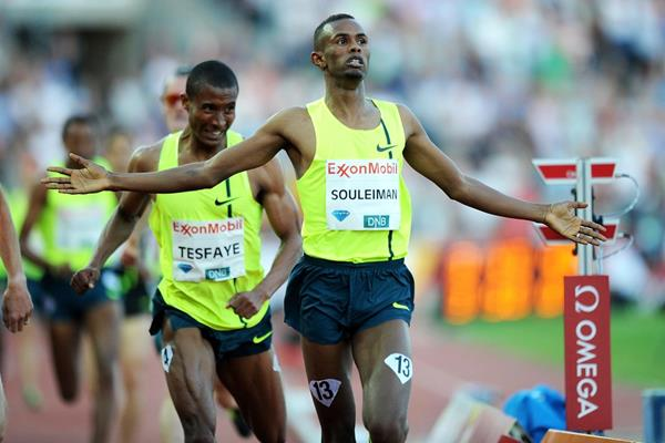 Ayanleh Souleiman winning the  Dream Mile at the 2014 IAAF Diamond League meeting in Oslo (Mark Shearman)