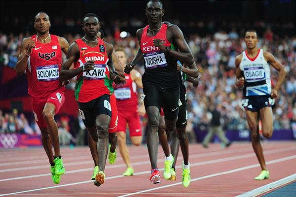 David Lekuta Rudisha of Kenya leads Duane Solomon (L) of the United States, Abubaker Kaki (2L) of Sudan and Andrew Osagie of Great Britain to win gold and set a new world record in the Men's 800m Final on Day 13 of the London 2012 Olympic Games on August 9, 2012  (Getty Images)