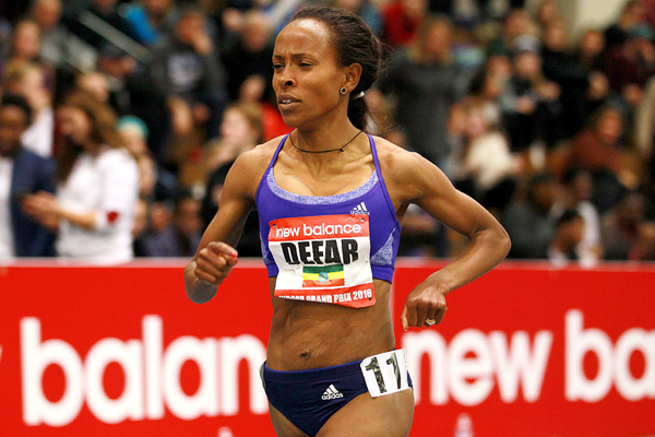 Meserat Defar at the 2016 New Balance Indoor Grand Prix meeting in Boston (Andrew McClanahan)
