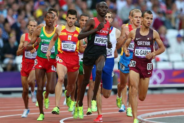 (L-R) Alvaro Rodriguez of Spain, Asbel Kiprop of Kenya and Mohamad Al-Garni of Qatar compete in the Men's 1500m Round 1 Heats on Day 7 of the London 2012 Olympic Games on 3 August 2012 (Getty Images)