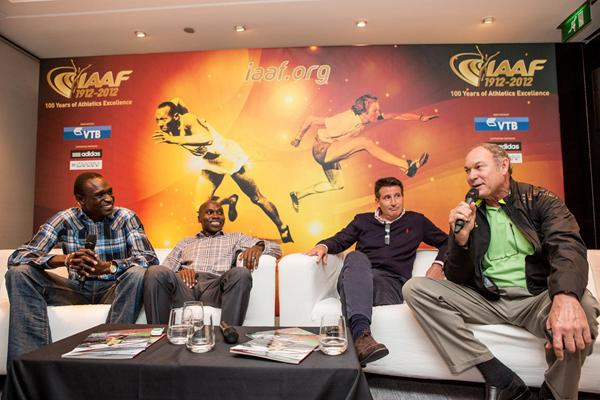 David Rudisha, Wilson Kipketer, Sebastian Coe and Alberto Juantorena in Barcelona (Philippe Fitte)