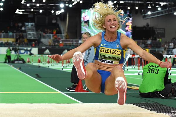 Anastasiya Mokhnyuk in the pentathlon long jump at the IAAF World Indoor Championships Portland 2016 (AFP / Getty Images)