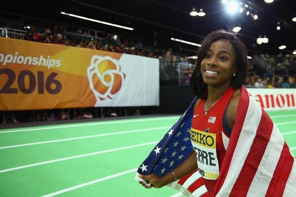 60m winner Barbara Pierre at the IAAF World Indoor Championships Portland 2016 (Getty Images)