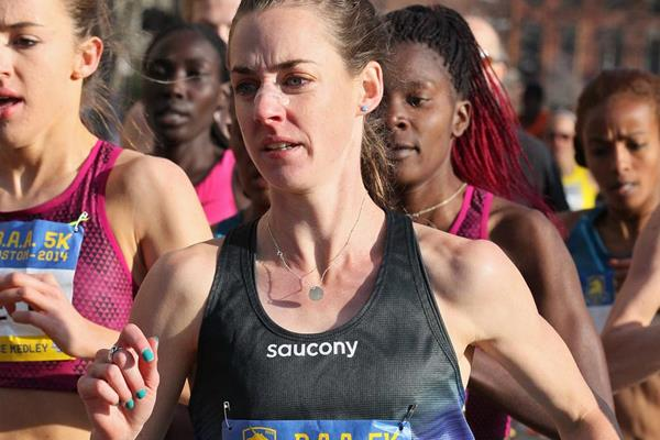 Molly Huddle on her way to winning the Boston 5km (Victah Sailer)