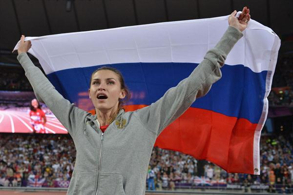 Anna Chicherova of Russia celebrates winning gold in the Women's High Jump Final on Day 15 of the London 2012 Olympic Games at Olympic Stadium on August 11, 2012 (Getty Images)