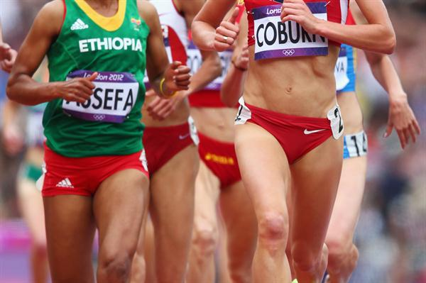 (L-R) Sofia Assefa of Ethiopia and Emma Coburn of the United States competes in the Women's 3000m Steeplechase Round 1 Heatson Day 8 of the London 2012 Olympic Games on 4 August 2012 (Getty Images)