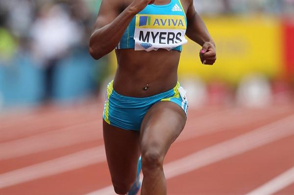 Marshavet Myers en route to her upset victory in the London 100m (Getty Images)