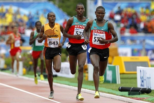 Jonathan Ndiku, Albert Yator and Jacob Araptany - the three Steeplechase medallists (Getty Images)