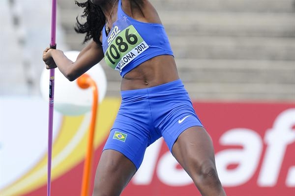 Tamara de Sousa of Brazil competes on the Women's Javelin Throw Heptathlon event on day four of the 14th IAAF World Junior Championships in Barcelona on 13 July 2012 (Getty Images)