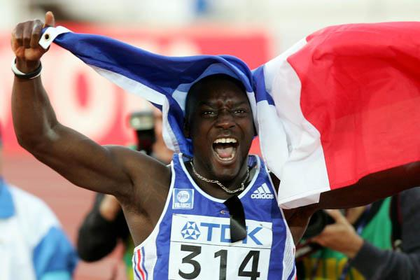 Ladji Doucoure celebrates his victory in the 110m hurdles (Getty Images)