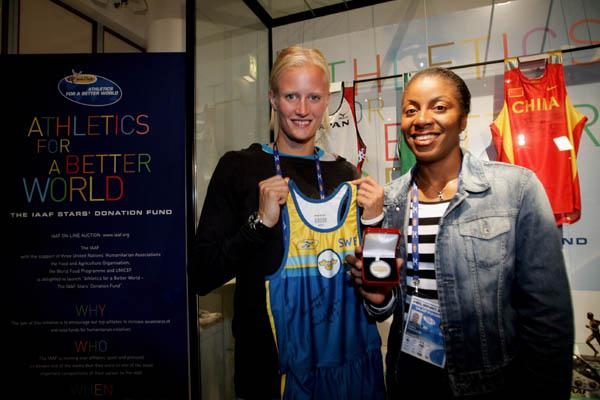 IAAF Ambassadors Carolina Klüft and Debbie Ferguson at the Athletics for a Better World Exhibition (Getty Images)