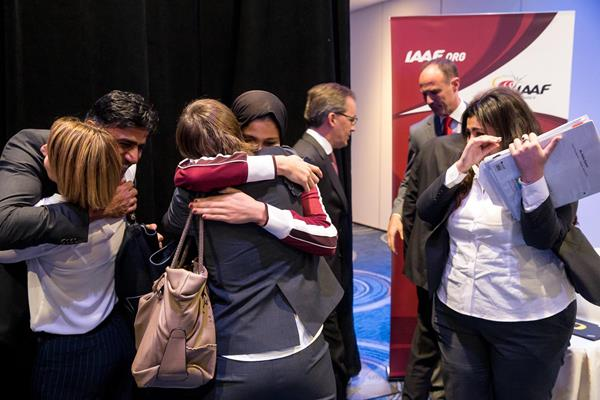 The Doha 2019 delegation celebrate being awarded IAAF World Championships (Philippe Fitte / IAAF)